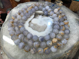 16mm Natural Blue Chalcedony Gemstone Beads