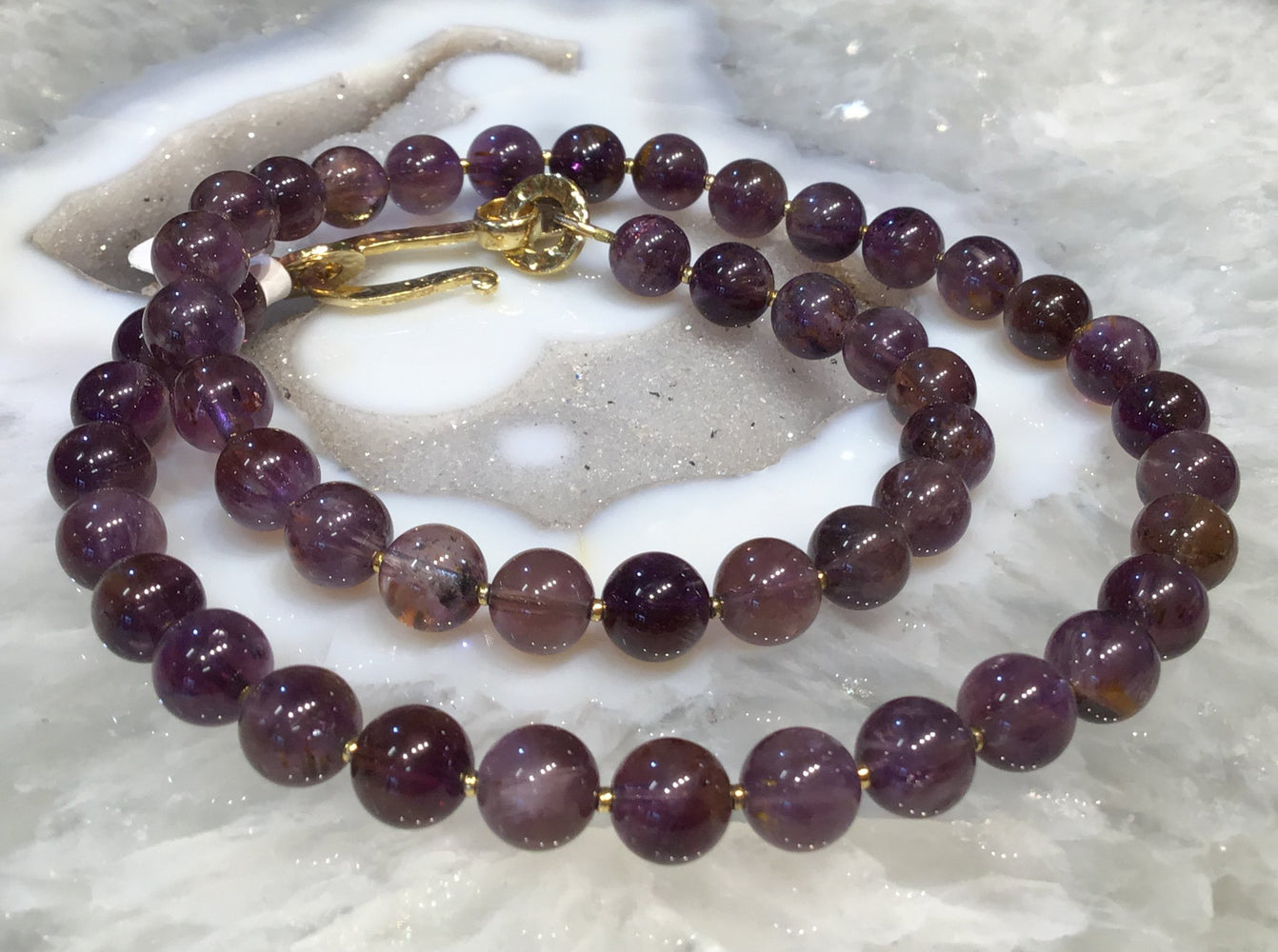 8mm Cacoxenite amethyst round gemstone necklace