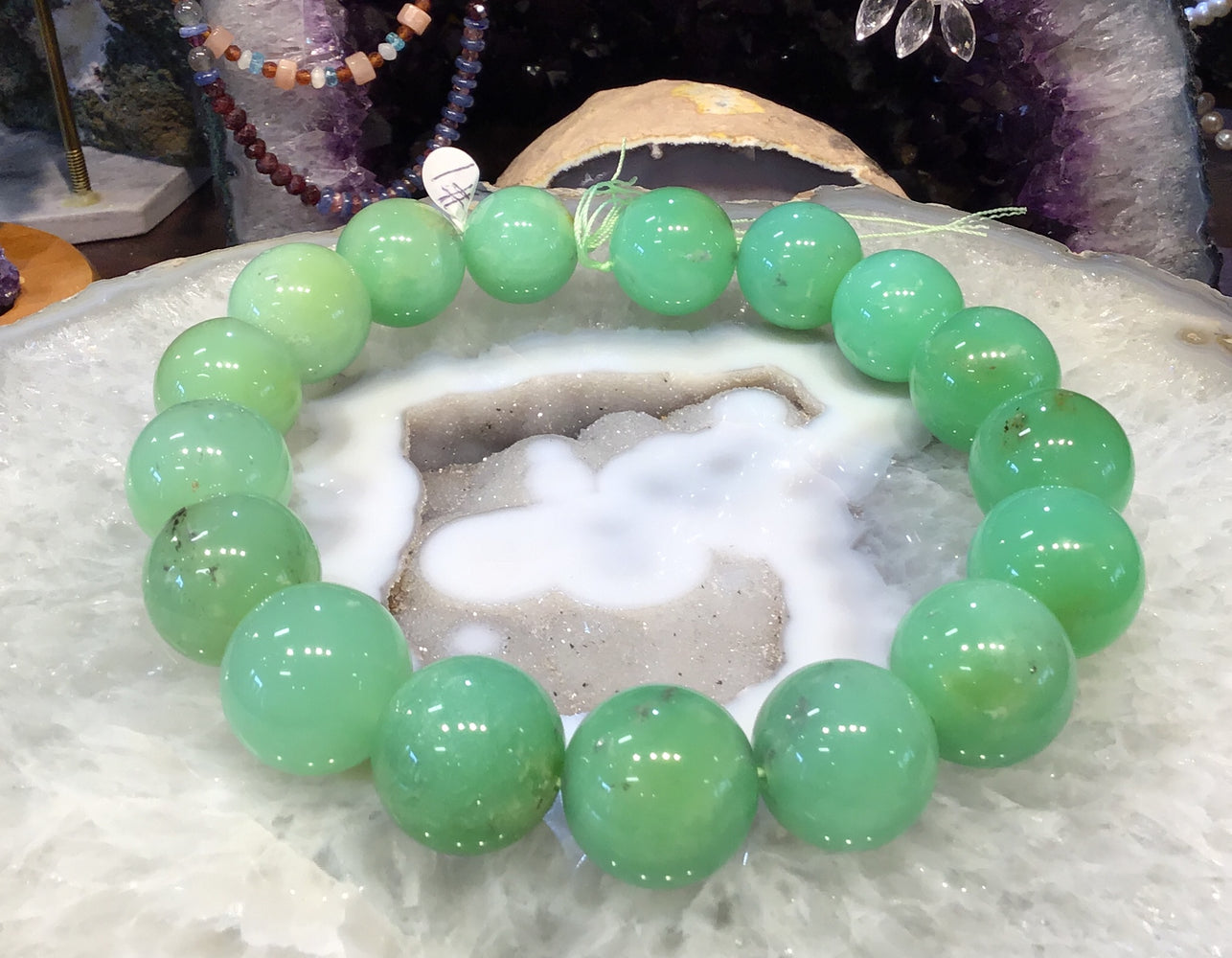 21-24mm Natural Apple Green Chrysoprase Gemstone Beads