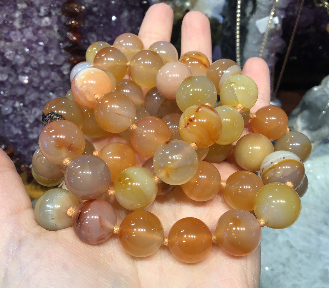 14mm Carnelian Agate Round Gemstone Beads