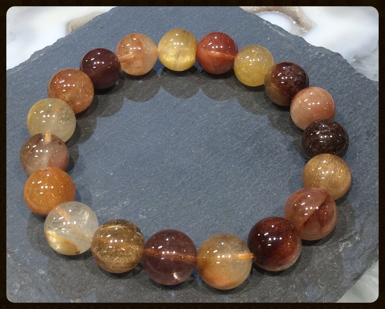 Golden rutile gemstone bracelet