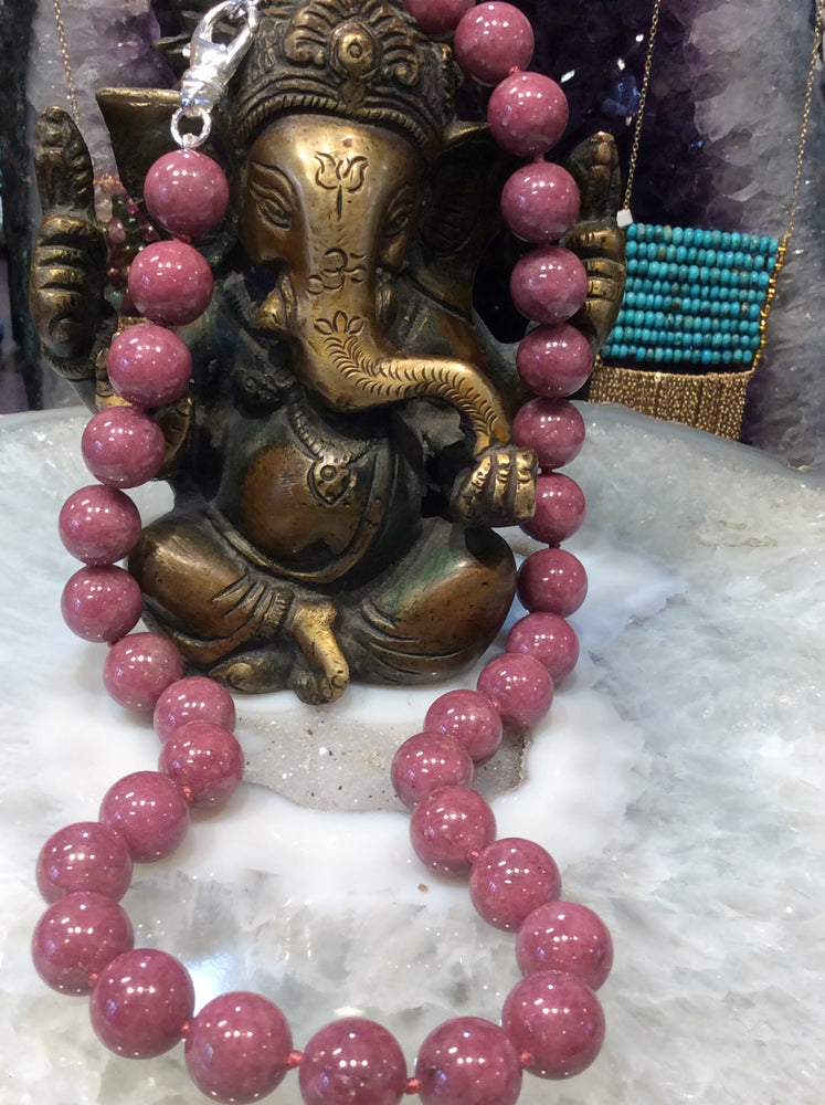 Pink Rhodonite gemstone necklace  a beauty !!!