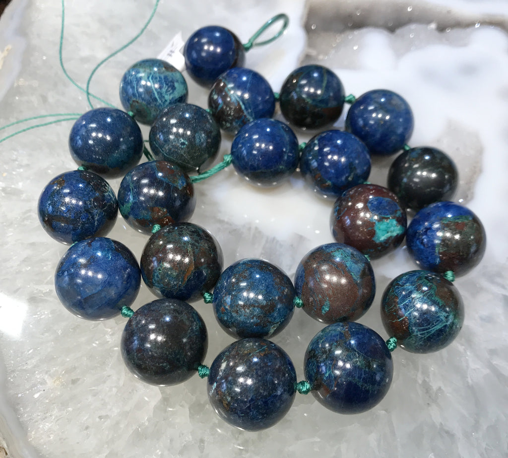 17mm Rare Blue Shattuckite Gemstone Beads #2