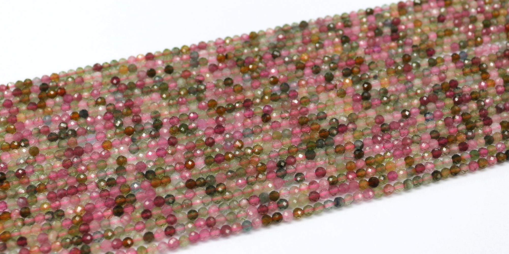 3mm Faceted Multicolor Tourmaline Gemstone Beads
