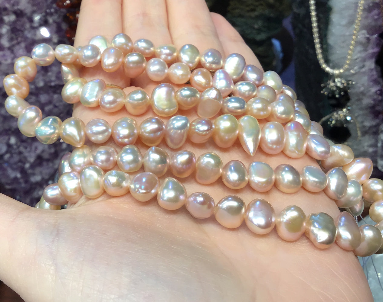 7mm Natural Purple Freshwater Pearls