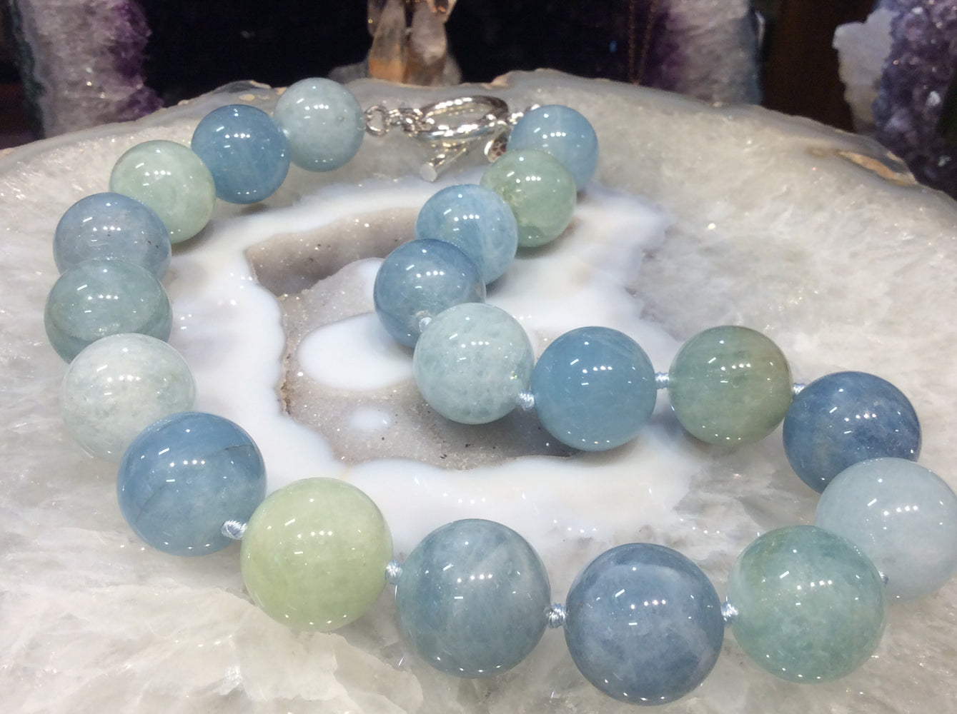 20mm Blue aquamarine gemstone necklace  Stunning!!!