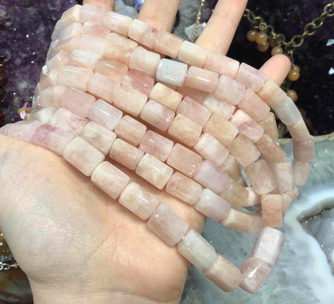 Morganite hexagon gemstone beads