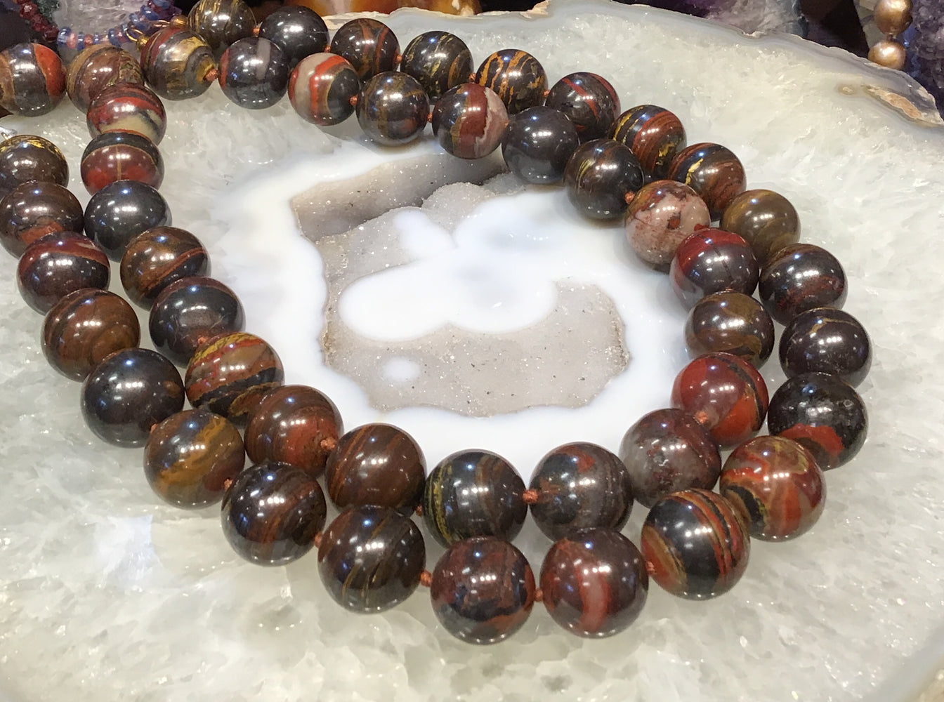 17mm Tiger iron round gemstone beads