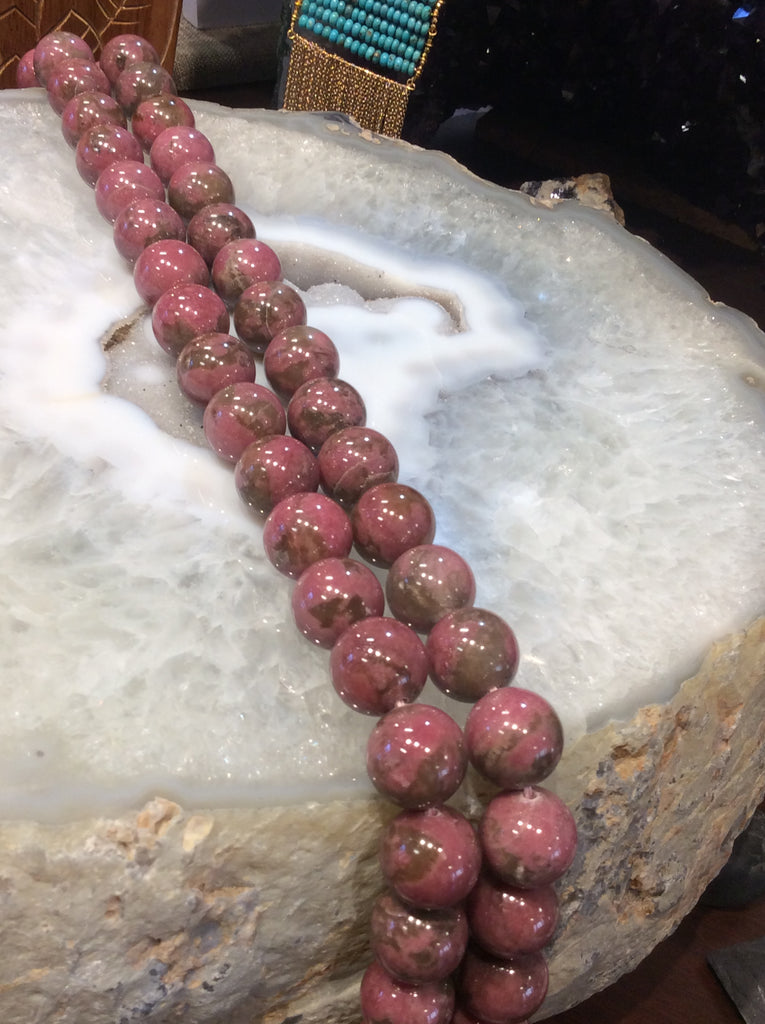 16mm pink rhodonite gemstone beads