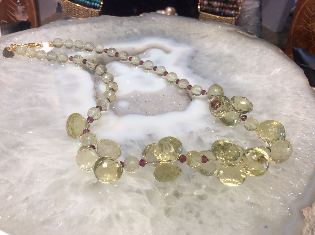 Lemon quartz & garnet faceted gemstone necklace  stunning!!!