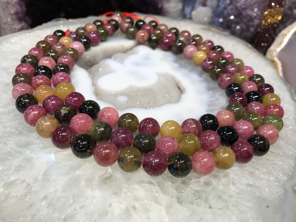 11mm Multicolor Watermelon Tourmaline Round Gemstone Beads