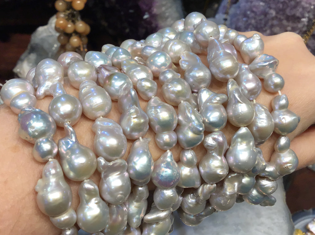 13-20mm Silver baroque freshwater pearl beads