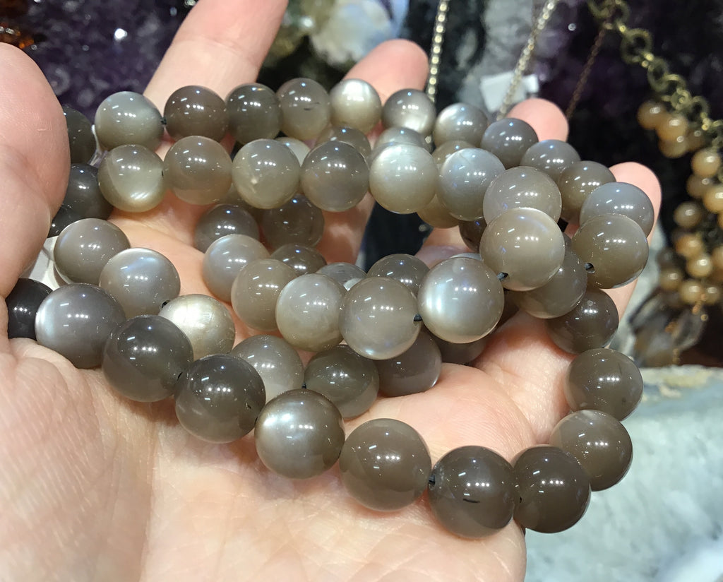10mm Top Brown Moonstone Gemstone Beads