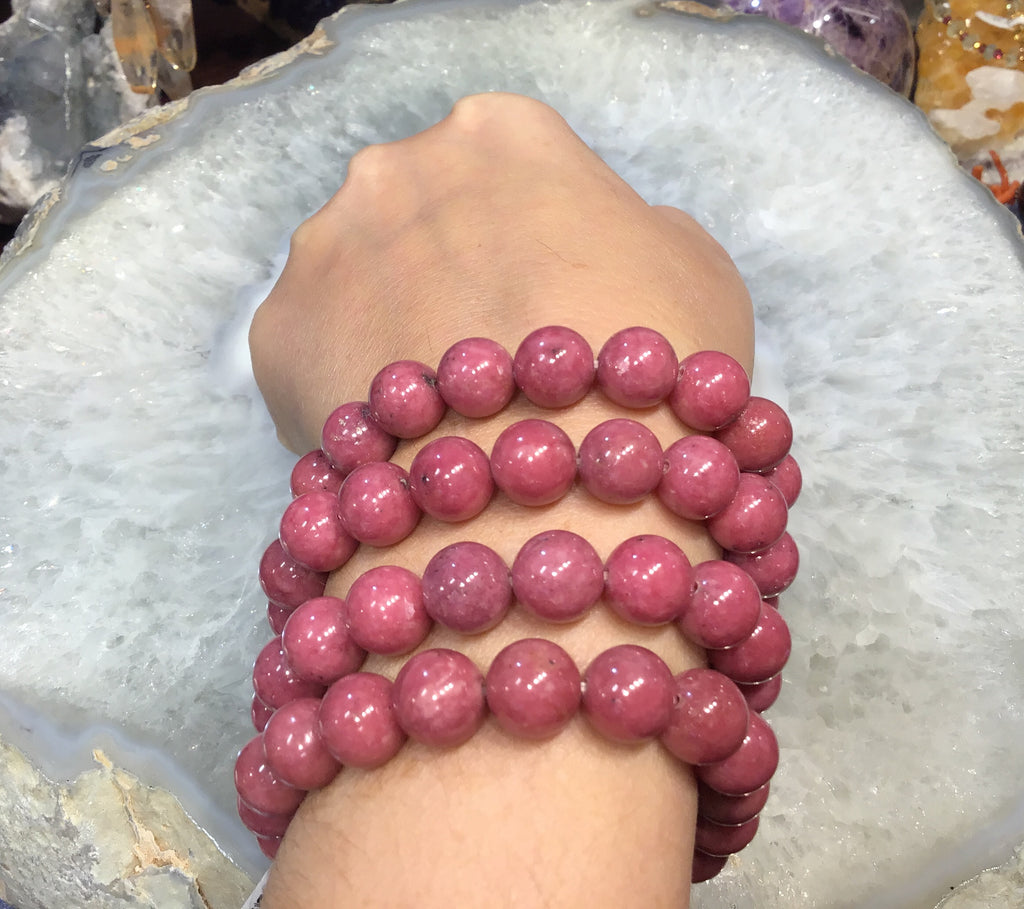 10mm Rhodonite gemstone bracelet 3a+