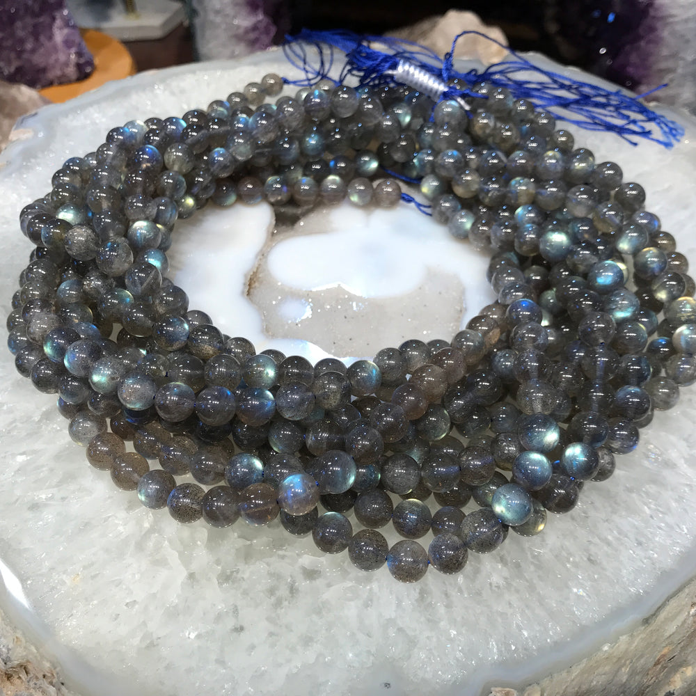 8mm Blue Flash Labradorite Round Gemstone Beads