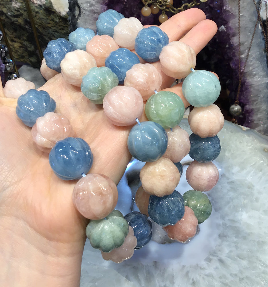 19mm Mixed beryl carved melonball gemstone beads