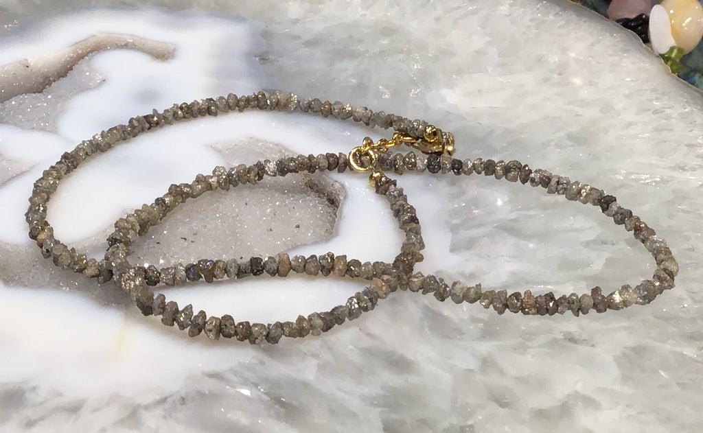 3-4mm Champagne rough diamond beaded necklace  wow!