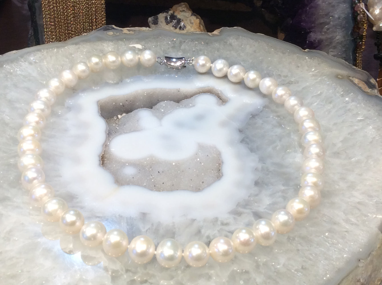 Freshwater pearl knotted necklace