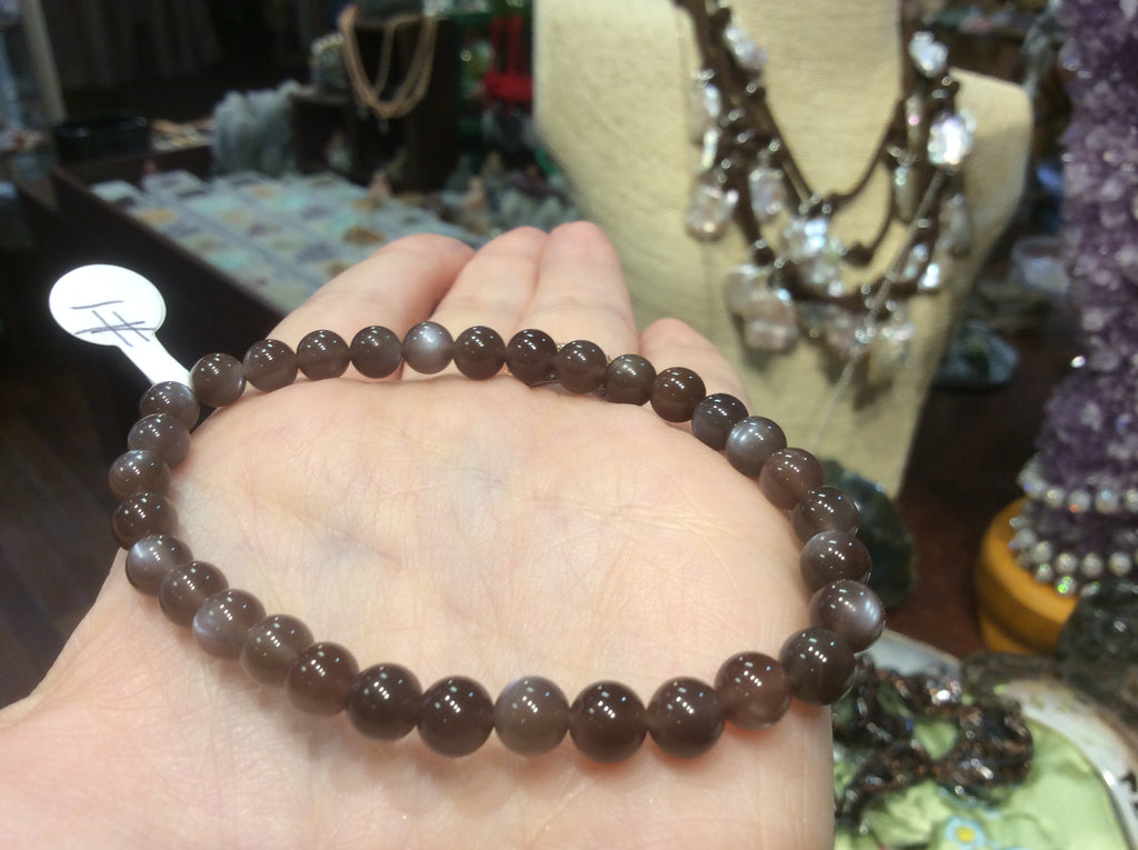 6mm chocolate moonstone bracelet top quality!! #1