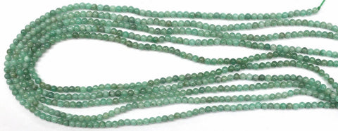 3.5mm Natural Emerald Round Gemstone Beads
