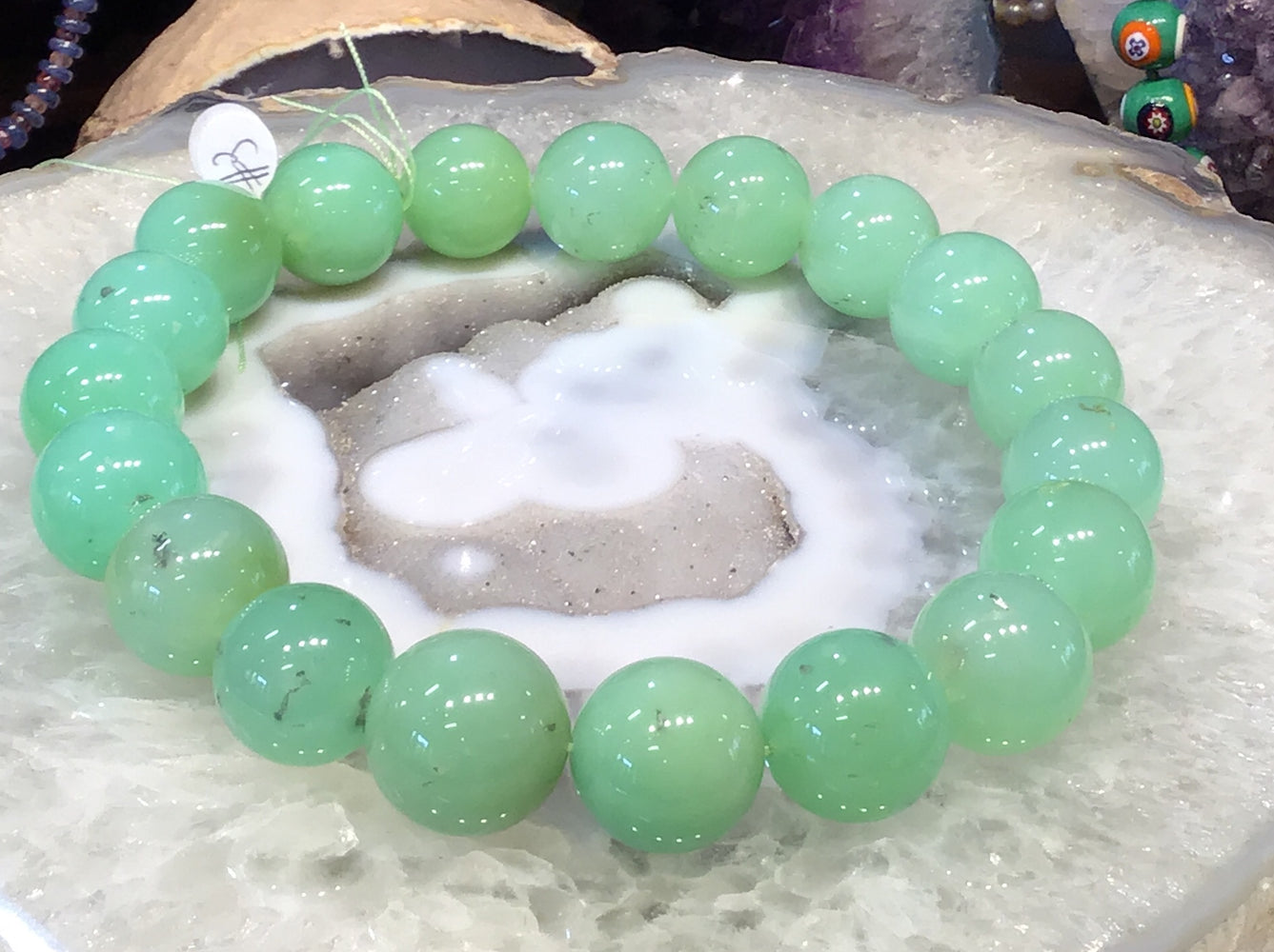 21-23mm Natural Apple Green Chrysoprase Gemstone Beads #3