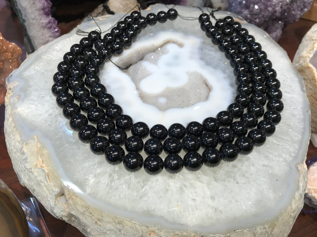 12mm Black Tourmaline Round Gemstone Bead's