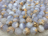 14mm Natural Blue Chalcedony Gemstone Beads