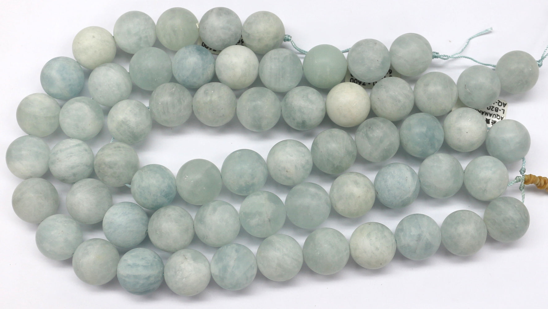 20mm Matte Natural Aquamarine Gemstone Bead's