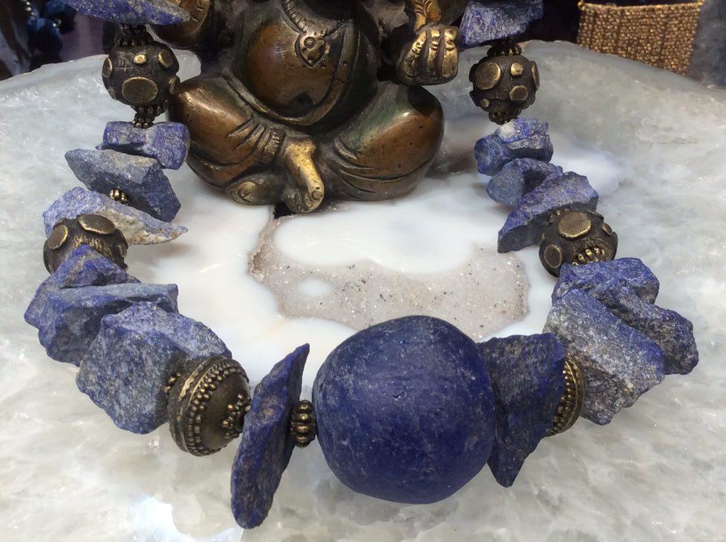 Lapis & antique brass gemstone necklace