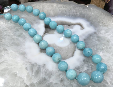 13-16mm Aqua Amazonite Round Gemstone Beads (Peru)