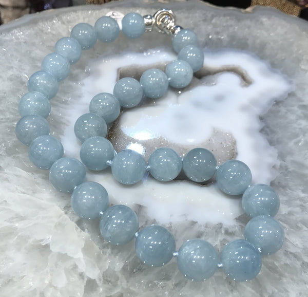14mm Cat's Eye Aquamarine Gemstone Bead Necklace
