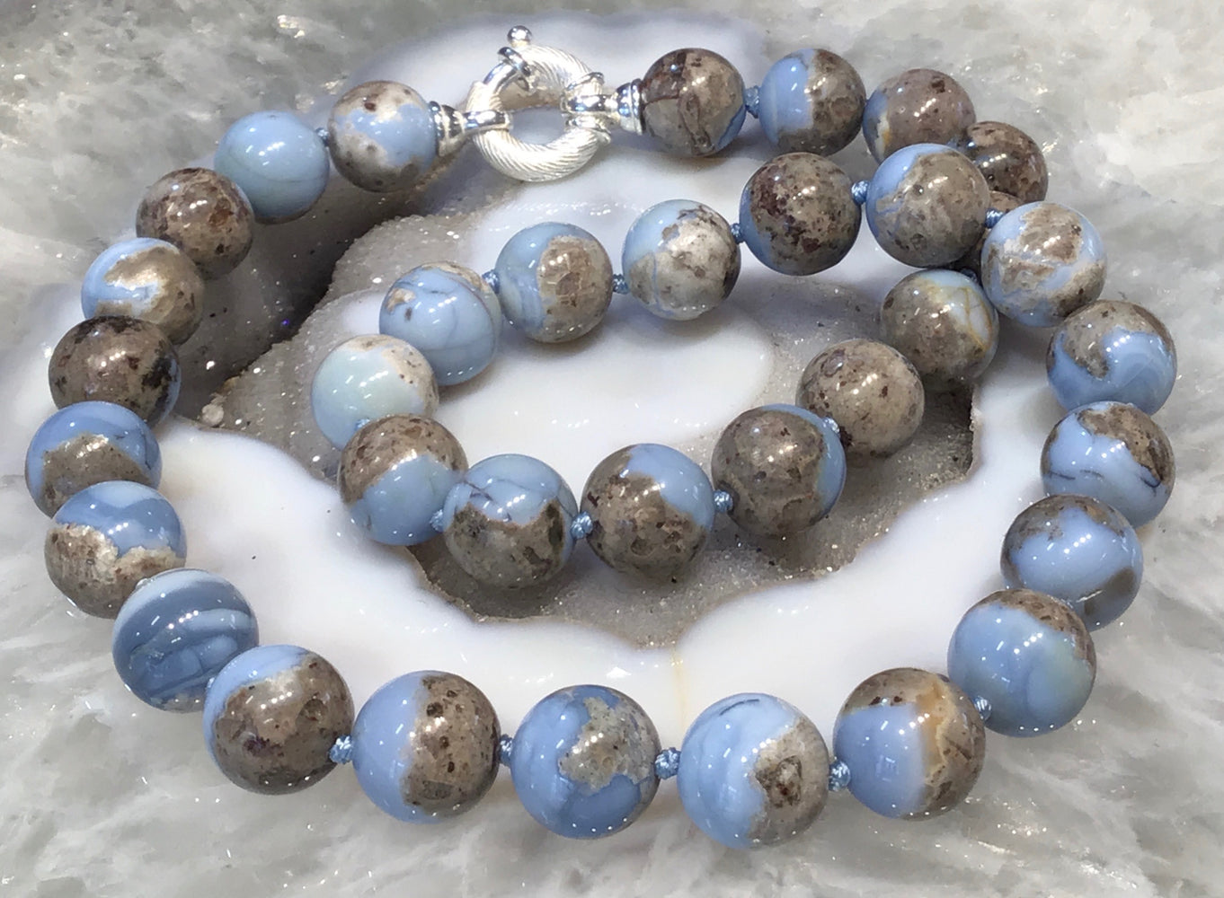 Owyhee blue opal round gemstone bead necklace - Rare