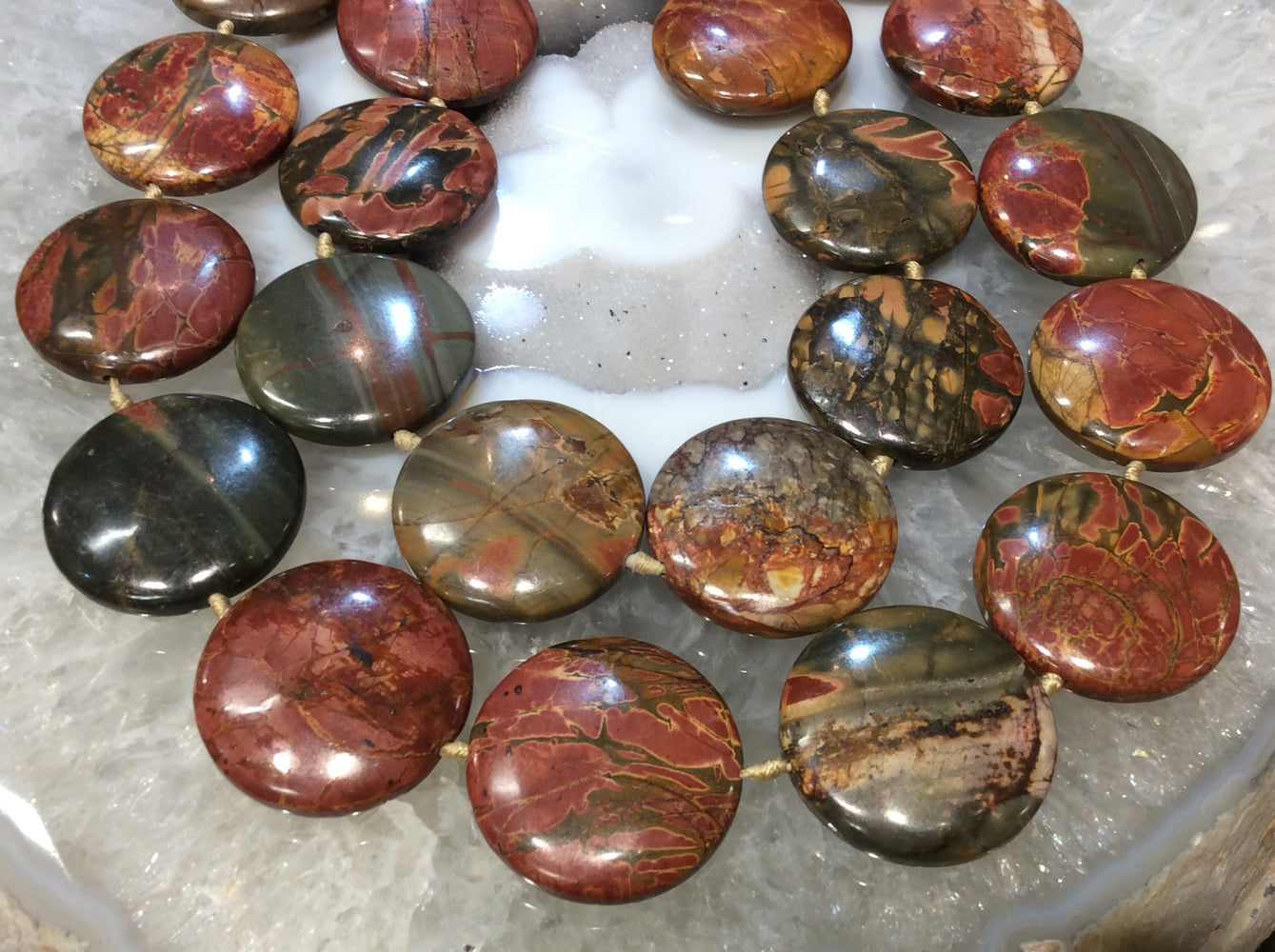 25-30mm Cherry Creek Jasper Coin Gemstone Beads