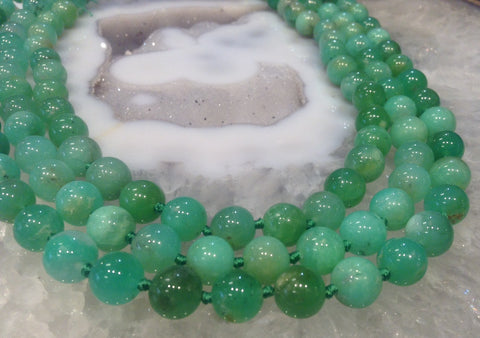 8mm Green Chrysoprase Round Gemstone Beads