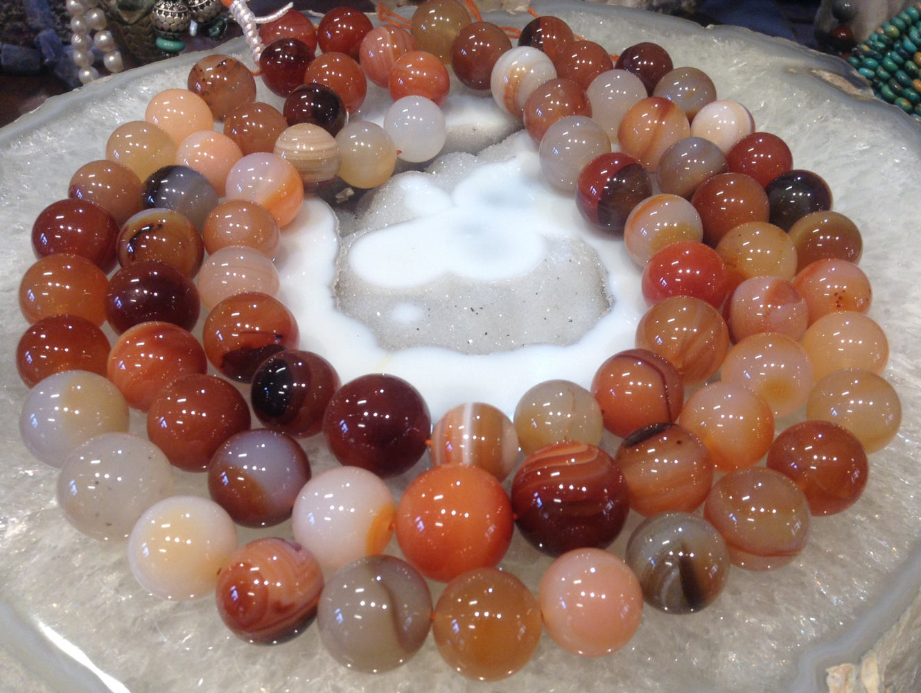 16mm Multicolor Carnelian Gemstone Round Beads