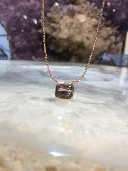 Bicolour Tourmaline Cut Square Gemstone & Rose Gold Necklace