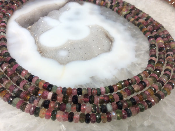 5mm Multicolor Tourmaline Faceted Rondelle Gemstone Beads