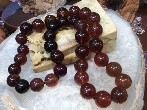 19-21mm Sumatra Blue Amber Beads Necklace ( Natural Amber)