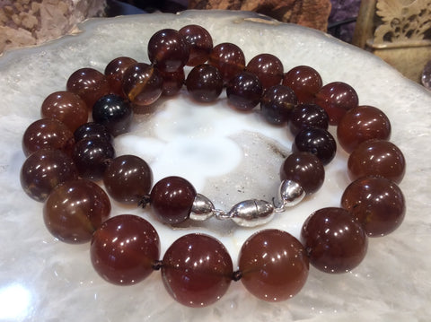 15-18mm Sumatra Blue Amber Beads Necklace ( Natural Amber)