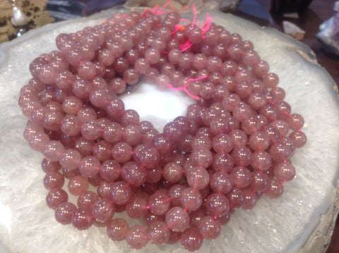 10mm Pink Muscovite Gemstone Beads