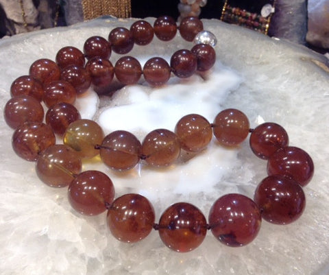 17-20mm Sumatra Blue Amber Beads Necklace ( Natural Amber)