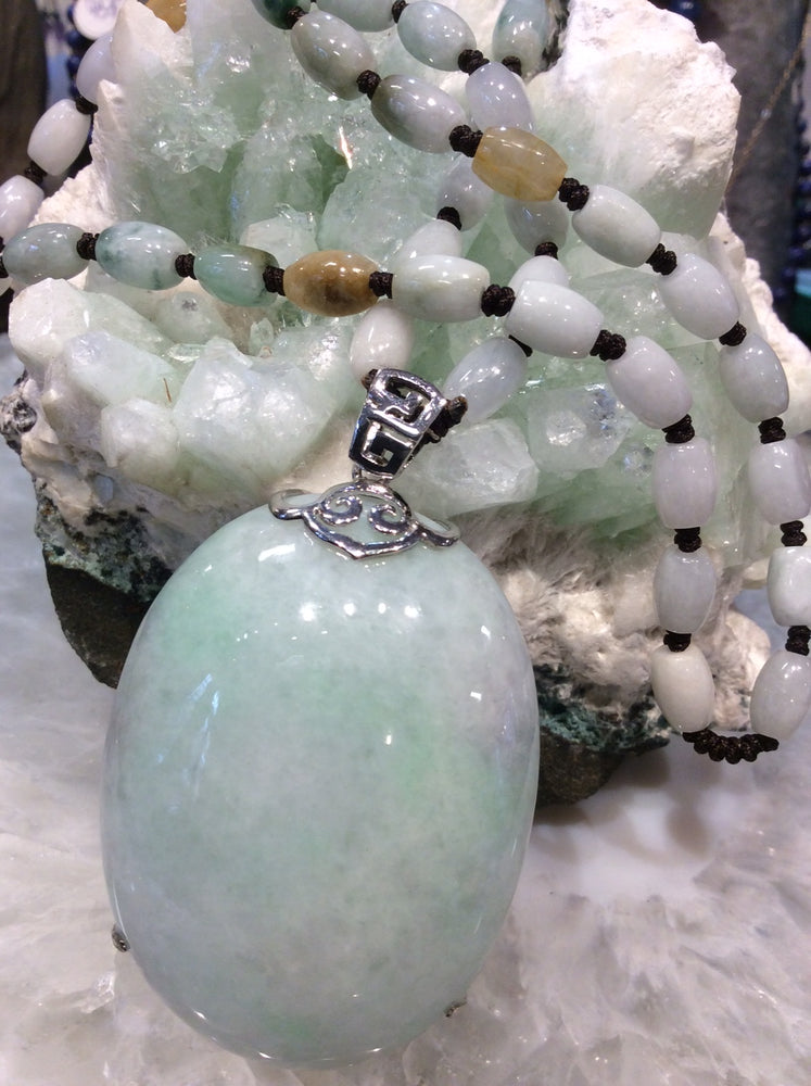 Natural Lavender Green Jade Jadeite Necklace - One of A Kind