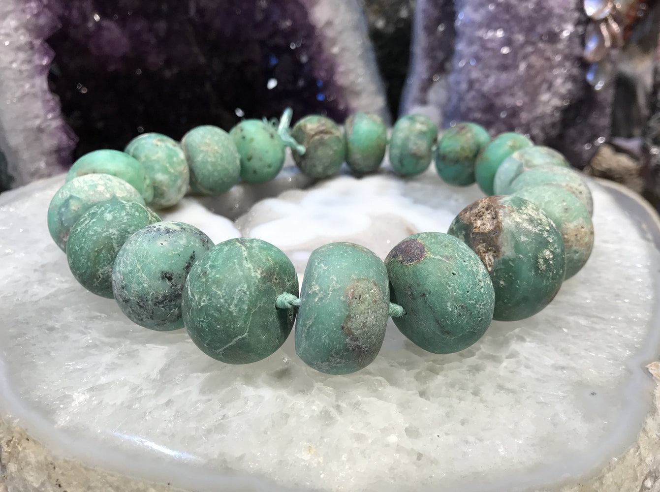 25-32mm Rough Natural Chrysoprase Rondelle Gemstone Beads #1
