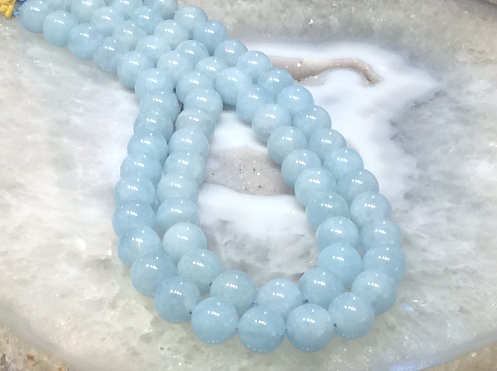 12mm Cat's Eye Aquamarine Round Gemstone Beads