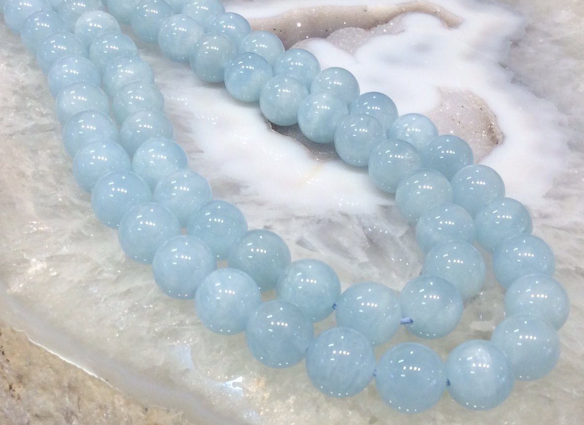12mm Cat's Eye Aquamarine Round Gemstone Beads (3A)