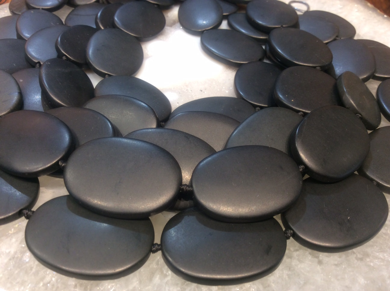 Large Matte Black Jade Oval Gemstone Beads