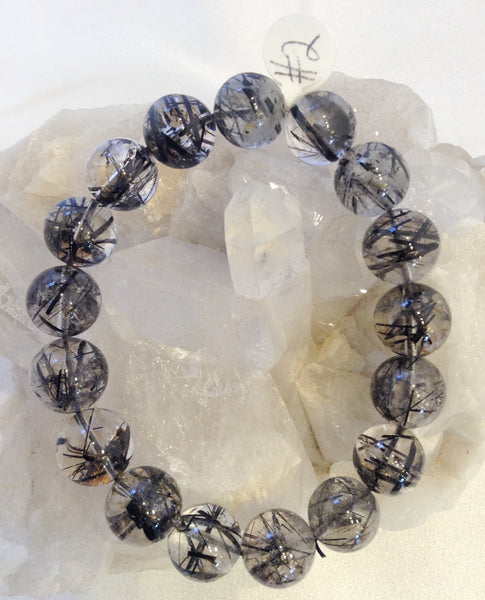 13mm Black Rutile Quartz Gemstone Bracelet