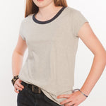 Loskey Scoop T-Shirt in Grey Contrast Organic Cotton
