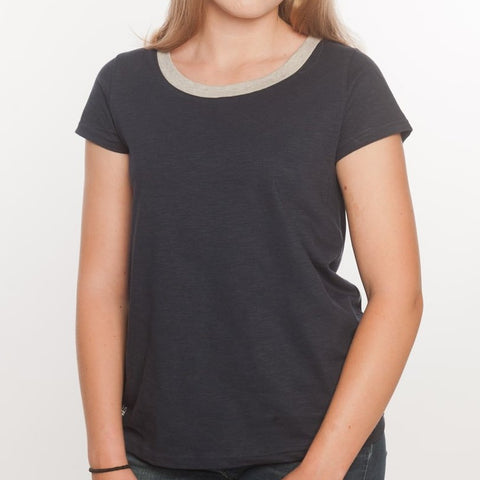 Loskey Scoop T-Shirt in Navy Contrast Organic Cotton