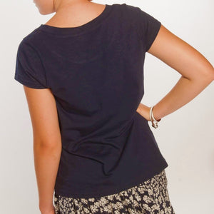 Loskey Scoop T-Shirt in Navy Organic Cotton